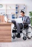 Мужской работник в кресло-коляске в офисе стоковые фото