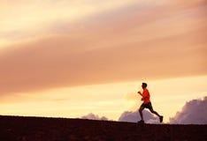 Мужской силуэт бегуна, бежать в заход солнца Стоковое Фото
