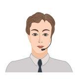 Мужской социальный профиль Значок воплощения Ярлык центра телефонного обслуживания дела Стоковое Изображение
