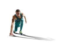 Мужской спринтер бежать на изолированной предпосылке стоковое фото rf