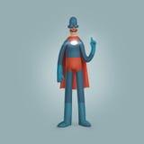 Мужской супергерой нося голубую иллюстрацию сюиты Стоковые Изображения RF