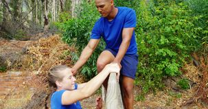 Мужской тренер помогая подходящей женщине для того чтобы взобраться над деревянной стеной во время полосы препятствий 4k сток-видео