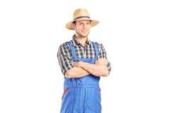 Мужской фермер в комбинезоне стоковое фото rf