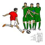 Мужской футболист снимая шарик к illustrati вектора стены Стоковое фото RF