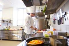 Мужской шеф-повар варя еду на кухне ресторана Стоковая Фотография RF