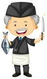 Мужской шеф-повар в черной форме Стоковое Изображение