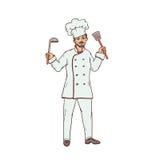 Мужской шеф-повар ресторана в равномерной и белой шляпе с ковшом и прорезанной ложкой в руке Работник сферы публики Стоковое Изображение