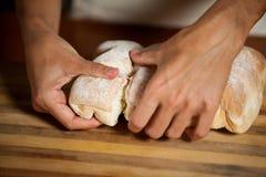 Мужской штат срывая плюшку в магазине хлебопекарни Стоковое Изображение