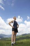 Мужской Hiker на злаковике Стоковая Фотография RF