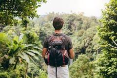 Мужской hiker смотря водопад стоковая фотография
