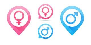 Мужчина вектора и женский комплект значка Икона человека и женщины Знаки Венеры и Марса Отобразьте указатели бесплатная иллюстрация