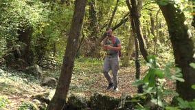 Мужчина в древесинах самостоятельно идя акции видеоматериалы