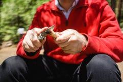 Мужчина в красной куртке точить его нож в диком стоковое изображение rf