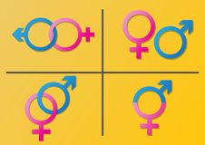 Мужчина и женский изолированный набор символов рода на белой предпосылке стоковое изображение
