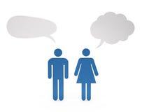 Мужчина и женский обсуждать иллюстрация штока