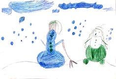 Мужчина и женщина снеговиков в снеге Стоковые Изображения RF