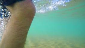 Мужчина идя под водой акции видеоматериалы