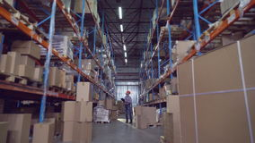 Мужчина работая в storehouse видеоматериал