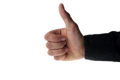 мужчина руки caucasion показывая thumps вверх Стоковая Фотография