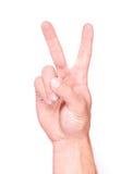 мужчина s руки перстов показывая 2 Стоковое Изображение RF