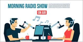 Мужчина ` s dj радио & женская жизнь играя музыку & беседу на воздухе передают холодную плоскую иллюстрацию дизайна Знамя, плакат Стоковое фото RF