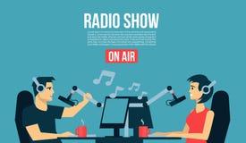 Мужчина ` s dj радио & женская жизнь играя музыку & беседу на воздухе передают холодную плоскую иллюстрацию дизайна Знамя, плакат Стоковые Изображения