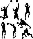 мужчина silhouettes волейбол Стоковое Фото