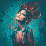 Муза женщины с искусством тела Стоковая Фотография