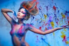 Муза женщины с искусством тела Стоковое Изображение RF
