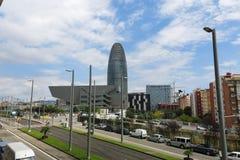 Музей Барселоны эпицентра деятельности Disseny и Torre Agbar Стоковое Изображение RF
