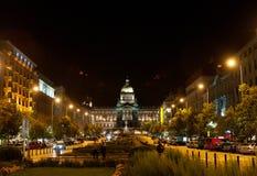 Музей метро Праги на ноче Стоковая Фотография RF