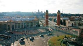 Музей национального искусства Каталонии от смотровой площадки на площади Испании акции видеоматериалы