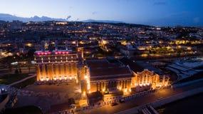 Музей электричества, науки и промышленной археологии, Лиссабон, Португалия на виде с воздуха мае 2016 ночи Стоковые Фото