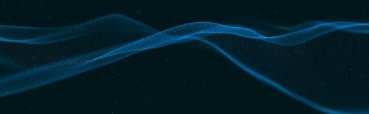 Музыкальная волна частиц Ядровые структурные соединения Абстрактная предпосылка с волной светящих частиц o иллюстрация штока