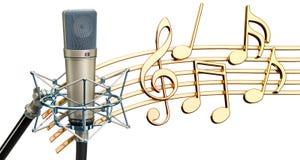 Музыкальная принципиальная схема Микрофон с примечаниями музыки, студии renderin 3d иллюстрация вектора