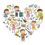 Музыкальная школа для детей Vector дети иллюстрации поя песни, играя значок Doodle детского сада музыкальных инструментов Стоковое Фото