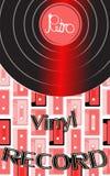 Музыкальное аудио показатель винила старого винтажного ретро битника античный и показатель винила надписи на предпосылке 60 ` s иллюстрация вектора