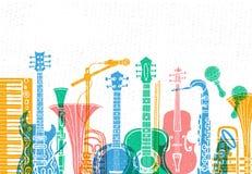 Музыкальные инструменты, гитара, скрипка, скрипка, кларнет, банджо, тромбон, труба, саксофон, саксофон E иллюстрация вектора