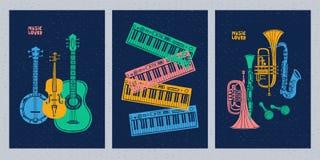 Музыкальные инструменты, гитара, скрипка, скрипка, кларнет, банджо, тромбон, труба, саксофон, саксофон E бесплатная иллюстрация