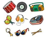 Музыкальные объекты на белой предпосылке Стоковое Изображение