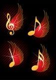 музыкальные примечания летая Стоковые Изображения RF