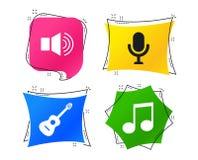 Музыкальный значок элементов Микрофон, ядровый диктор вектор бесплатная иллюстрация