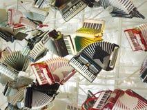 Музыкальный инструмент коллажа аккордеона стоковые изображения rf