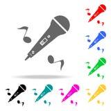 музыкальный микрофон с значком примечаний Элементы значков партии multi покрашенных Наградной качественный значок графического ди иллюстрация вектора