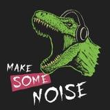 Музыкальный фан Tyrannosaur иллюстрация штока
