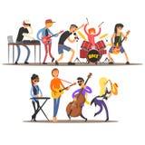 Музыканты и аппаратуры также вектор иллюстрации притяжки corel иллюстрация штока