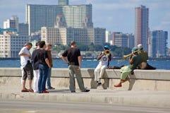 Музыканты на Malecon, Гаване Стоковое фото RF