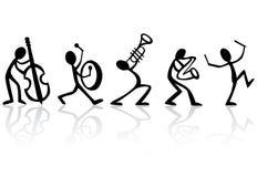 музыканты нот иллюстрации полосы играя вектор Стоковое Фото