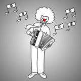 Музыкант бизнесмена при сторона шутника играя vec аккордеона рояля иллюстрация вектора