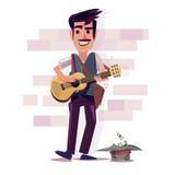 музыкант гитары играя улицу дизайн характера - вектор иллюстрация вектора